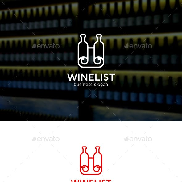 Wine List Two Wine Bottles and Paper Map Logo Concept