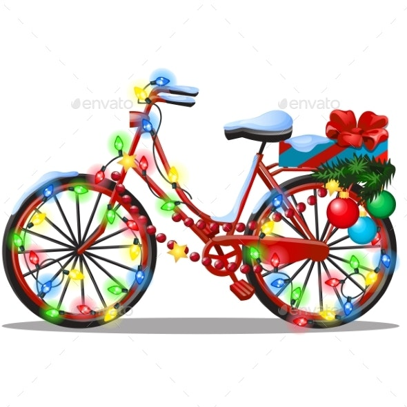 Vintage Bicycle Decorated in Christmas - Christmas Seasons/Holidays