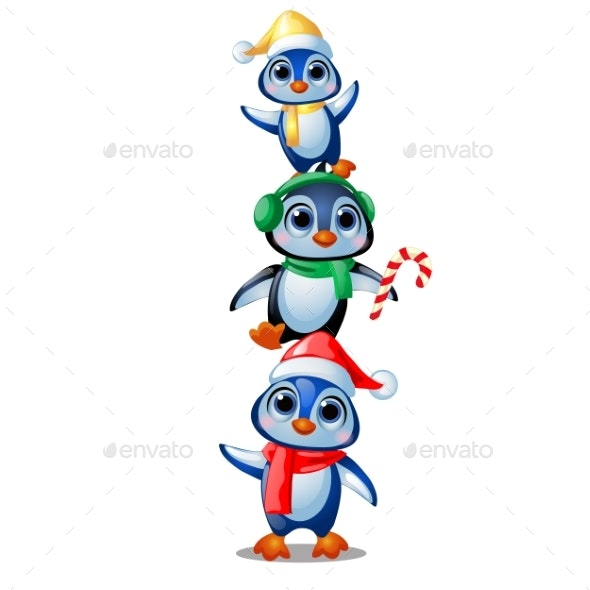 Penguins in Christmas Costumes Isolated - Christmas Seasons/Holidays