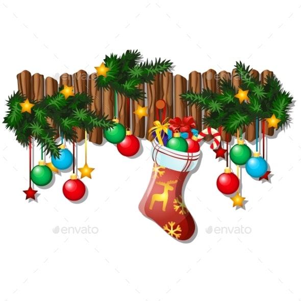 Wall Christmas Decor with Dangling Baubles - Christmas Seasons/Holidays