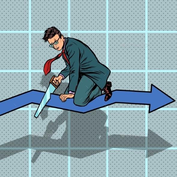 Businessman Sawing Curve Graph - Business Conceptual