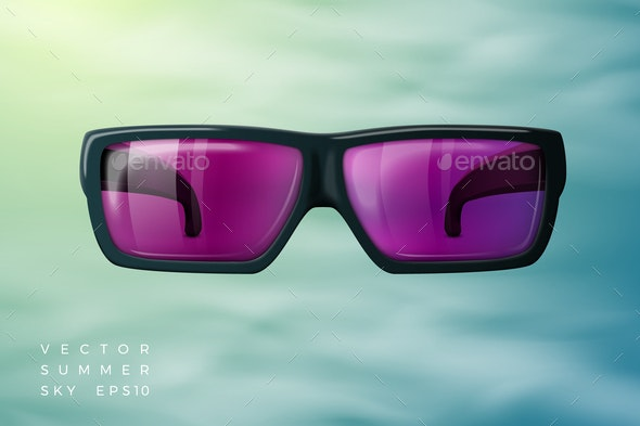Vector Abstract Background Sunglasses, Summer Sky - Miscellaneous Vectors