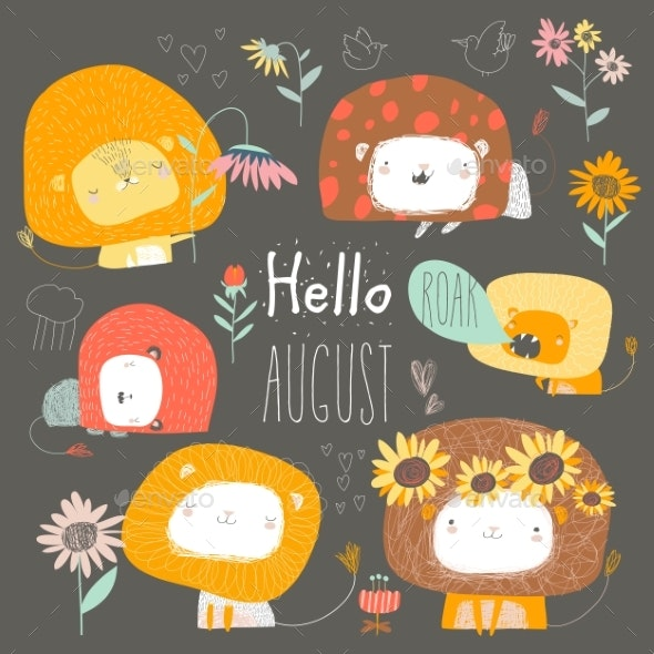 Set of Lions and Flowers Hello August - Animals Characters