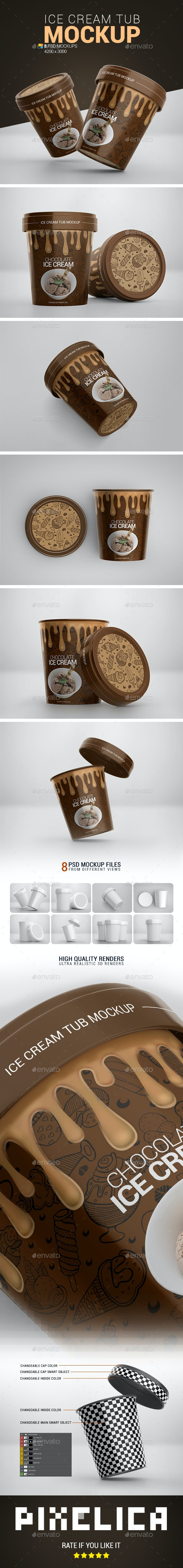 Ice Cream Tub Mockup - Food and Drink Packaging