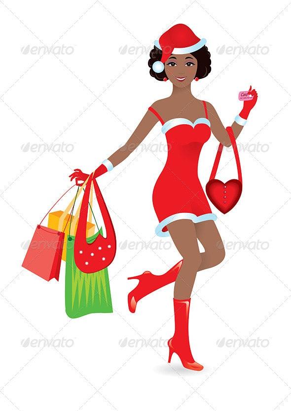 Happy Shopping Girl - Characters Vectors