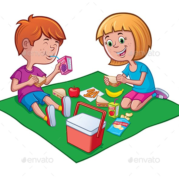 Two Kids Enjoying a Picnic Lunch on a Blanket