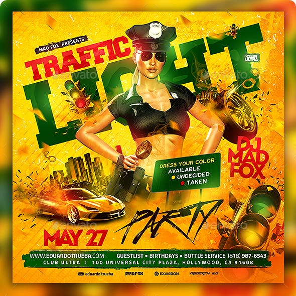 Stop Traffic Light Party Flyer