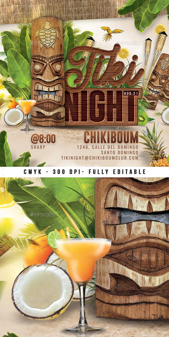 Tiki Night Club Party - Events Flyers