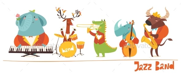 Vector Animal Musician Characters - Animals Characters