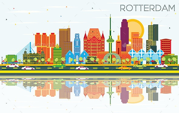 Rotterdam Netherlands City Skyline with Color Buildings - Buildings Objects