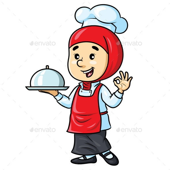 Female Chef Cartoon with Hijab - People Characters