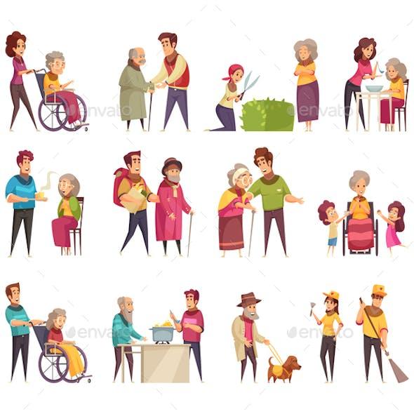 Elderly People Help Set