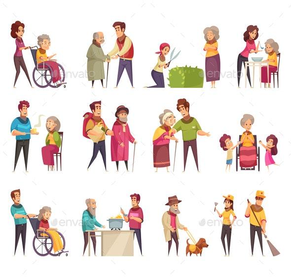 Elderly People Help Set - People Characters