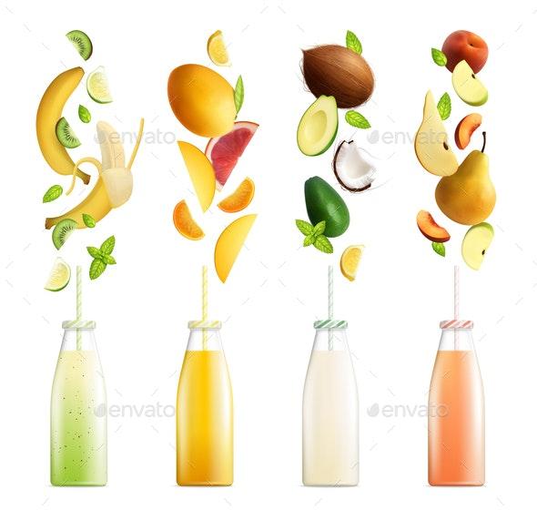 Fruity Smoothies Realistic Collection - Health/Medicine Conceptual