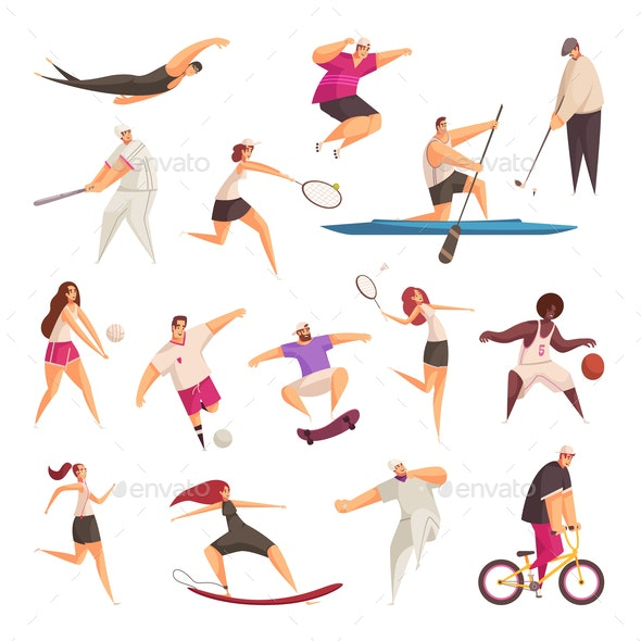 Summer Sportspeople Characters Set - Sports/Activity Conceptual