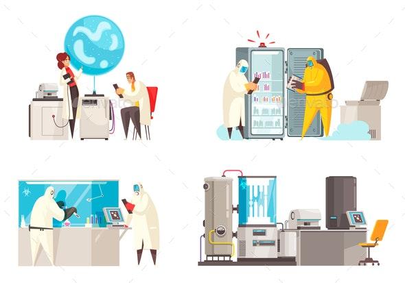 Microbiology Lab Design Concept - Miscellaneous Vectors