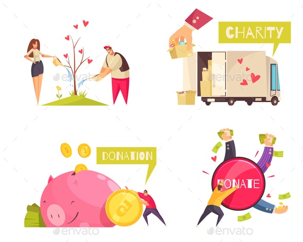 Charity Donation Design Concept - People Characters