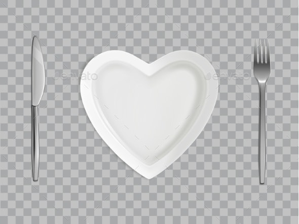 Heart Plate, Fork and Knife, Empty Table Setting - Food Objects