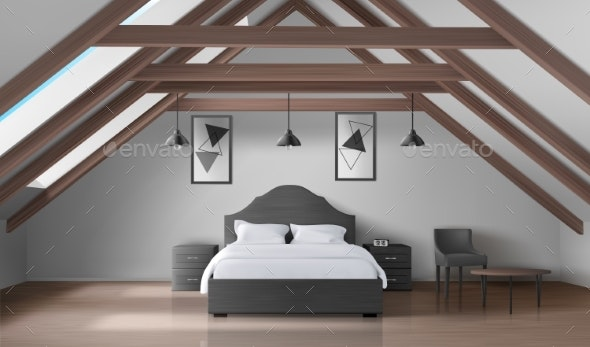 Bedroom on Attic, Modern Home Mansard Interior - Buildings Objects