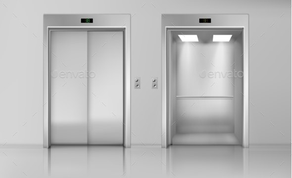 Lift Doors, Close and Open Empty Elevator Cabin - Buildings Objects