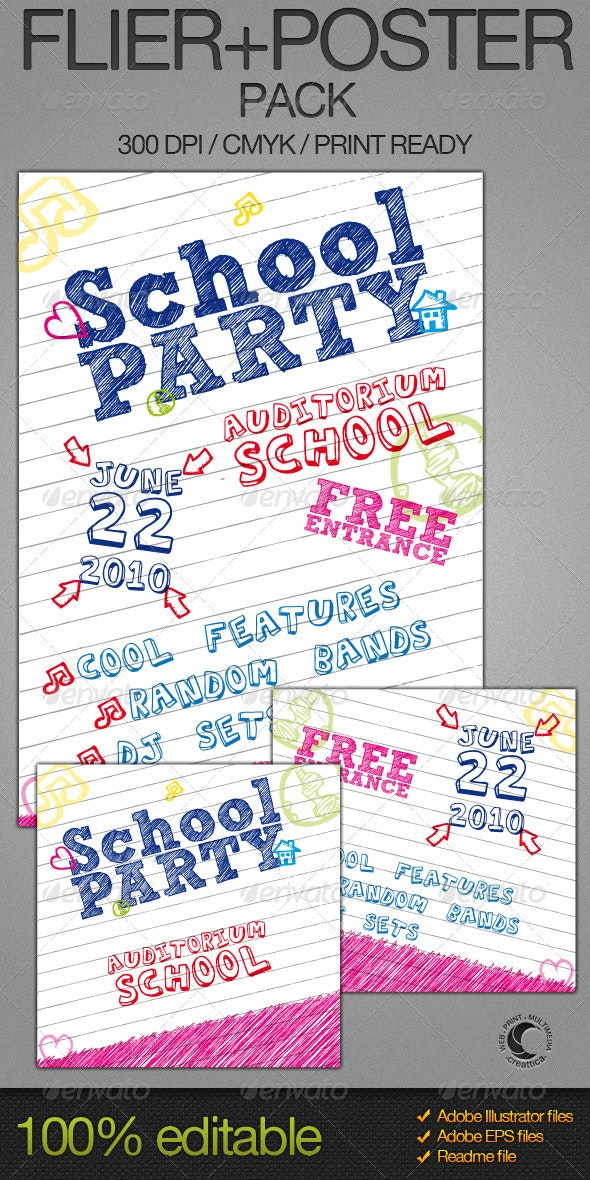 School Party Poster + Flyer - Clubs & Parties Events