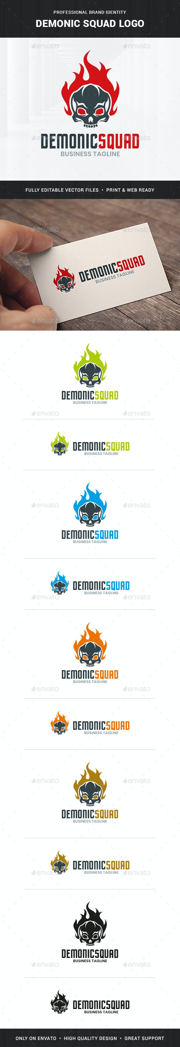 Demonic Squad Logo Template