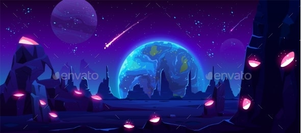 Earth View at Night From Alien Planet, Neon Space - Landscapes Nature