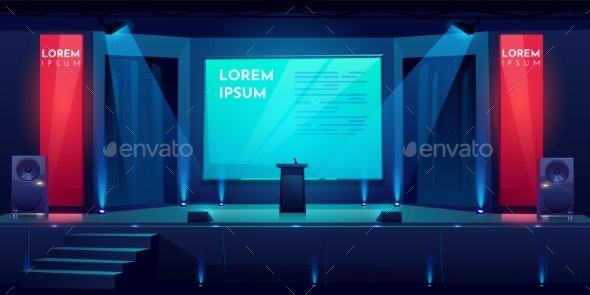 Conference Hall, Stage for Presentation, Scene - Buildings Objects
