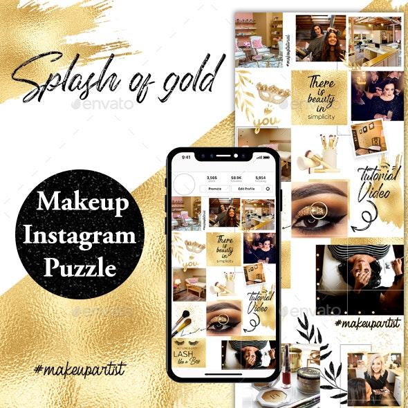 Splash of Gold Instagram Puzzle Template - Social Media Web Elements
