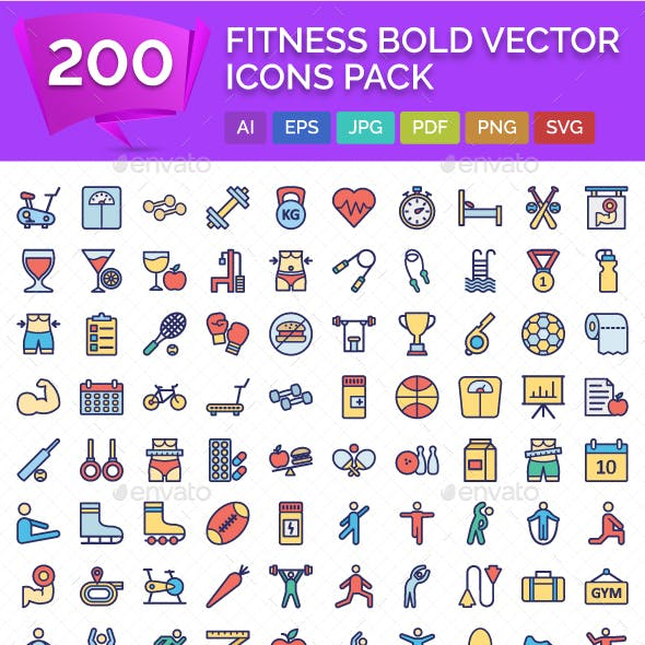 200 Fitness Bold vector Icons Pack