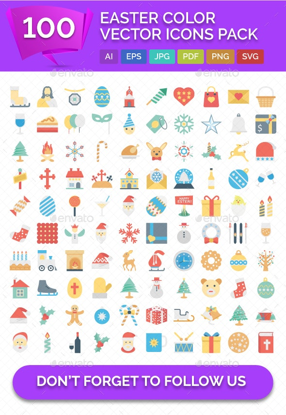 100 Easter Color Vector Icons Pack - Icons