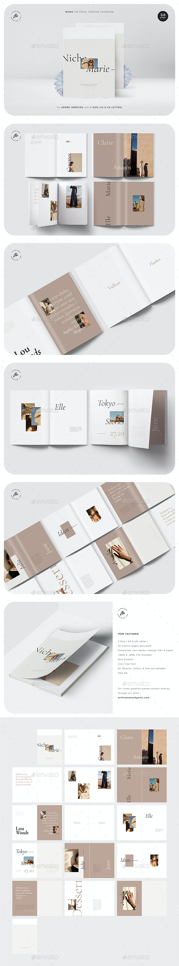 Marie Editorial Fashion Lookbook - Magazines Print Templates
