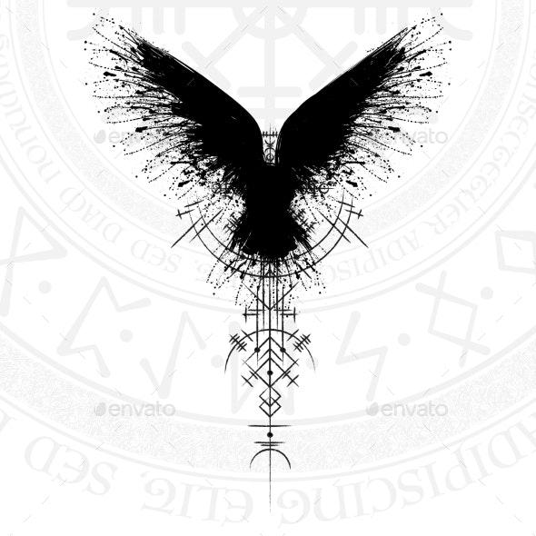 Black Runic Raven Scandinavian Symbol - Miscellaneous Vectors
