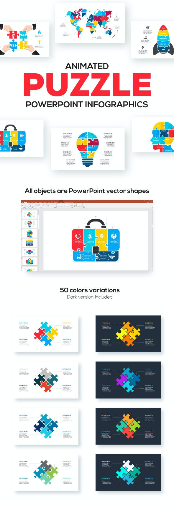 Puzzle Animated Infographic Presentations - Business PowerPoint Templates