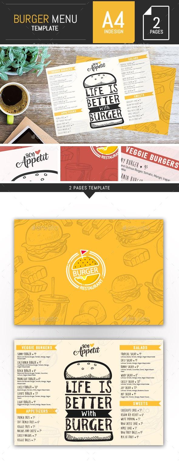 Burger Food Menu Template - InDesign - Food Menus Print Templates