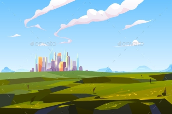 Futuristic City in Green Valley Among Mountains - Buildings Objects