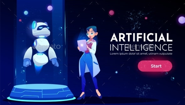 Woman Scientist in Front Panda Robot Neon Banner - Technology Conceptual
