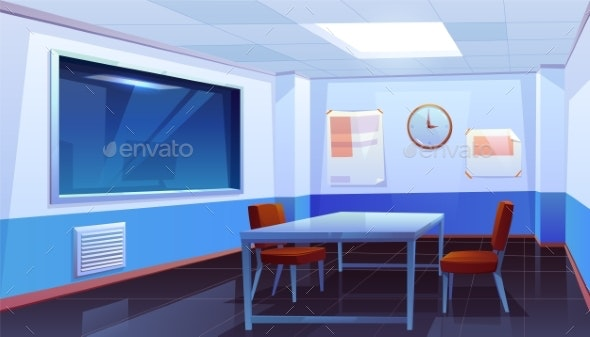 Interrogation Room in Police Station, Interior - Buildings Objects