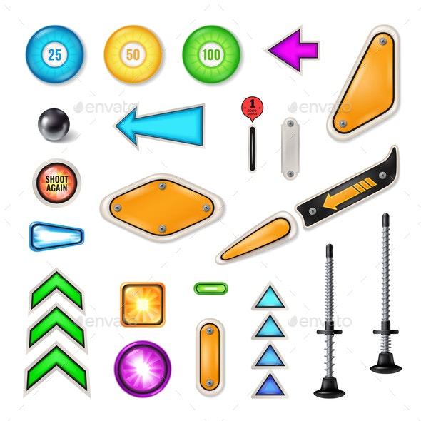 Pinball Parts Realistic Set - Miscellaneous Vectors