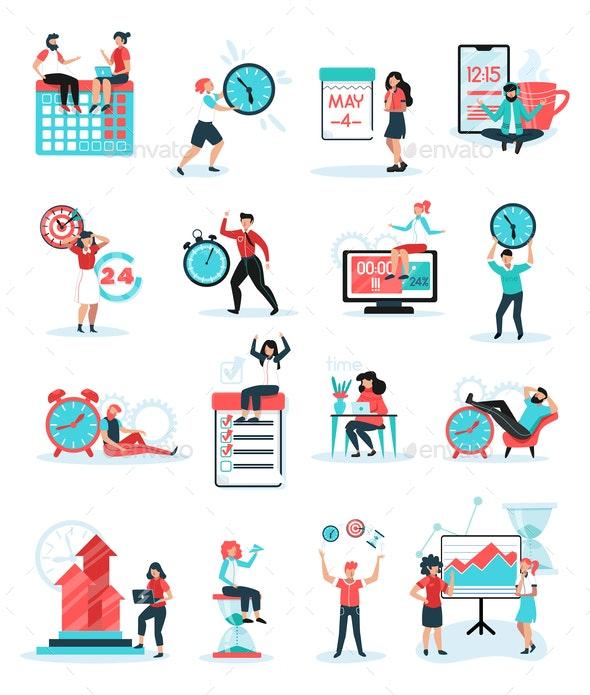 Time Management Flat Set - Business Conceptual