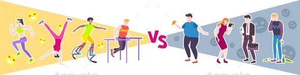 Sport vs Lazy Design Concept - Miscellaneous Vectors