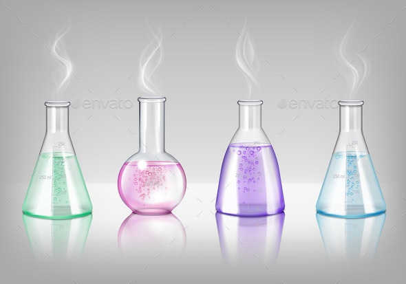 Laboratory Glassware Realistic Set - Miscellaneous Vectors
