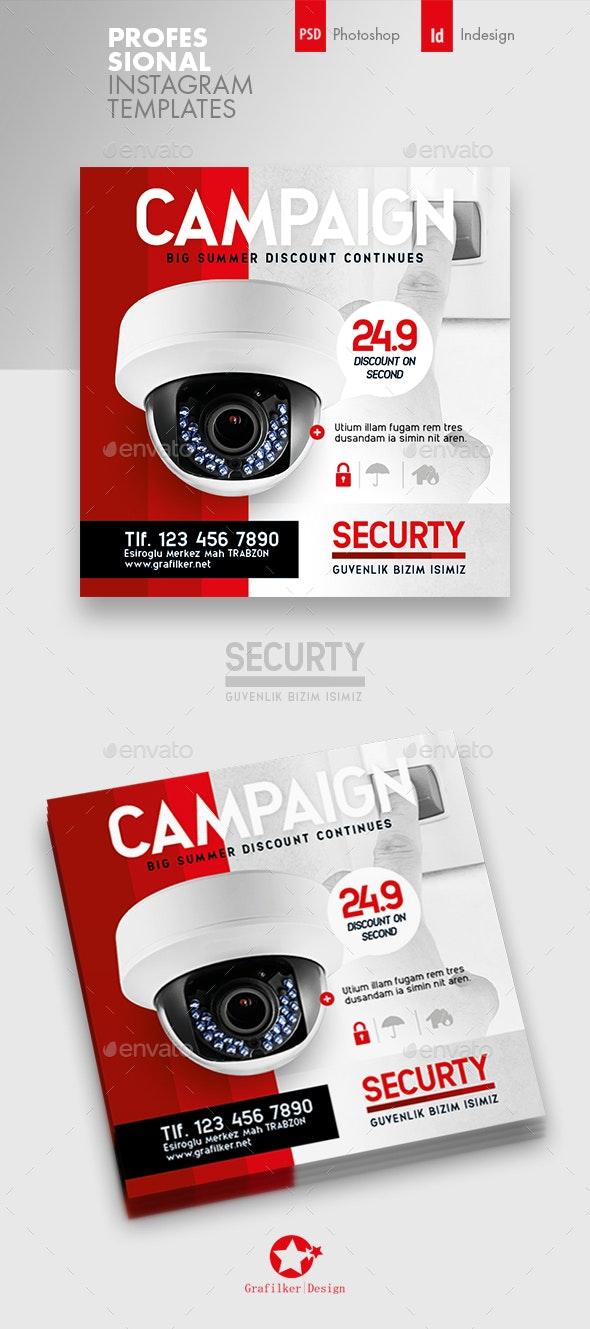 Security Technology Instagram Templates - Social Media Web Elements