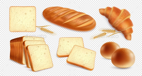 Realistic Bread Transparent Set - Food Objects