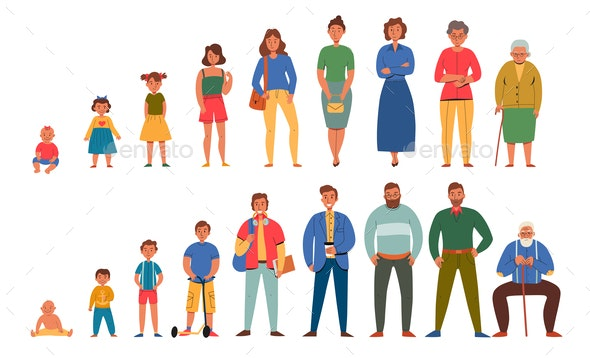 Generations People Men Women Icon Set - People Characters