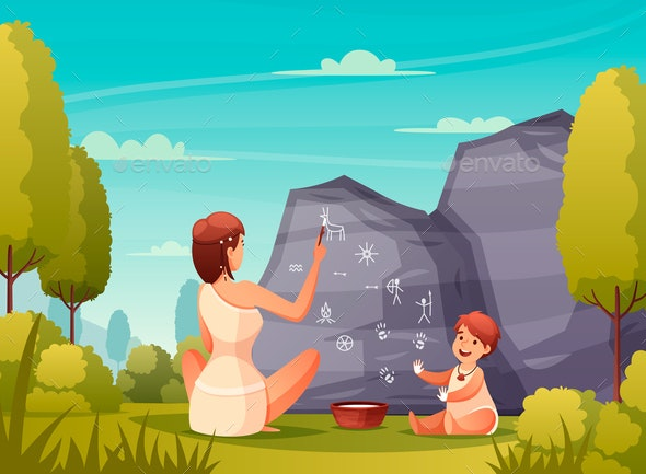 Caveman Painting Flat Composition - Miscellaneous Vectors
