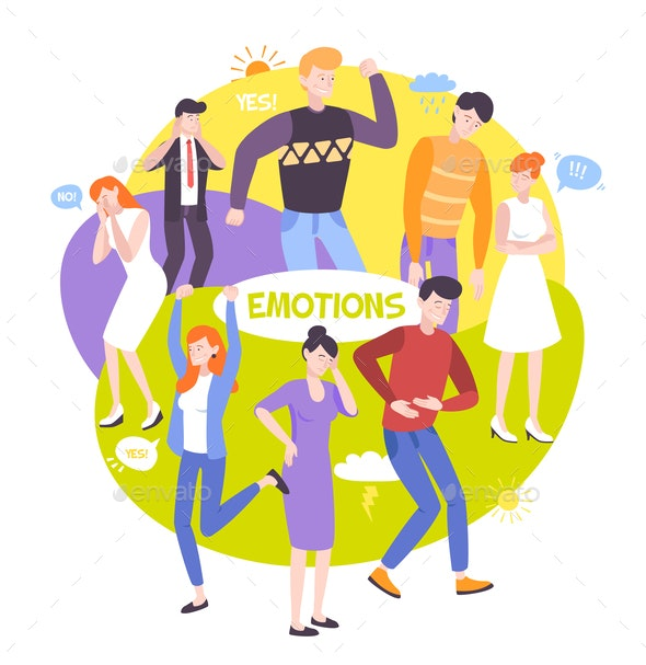 People Emotions Round Composition - Miscellaneous Vectors