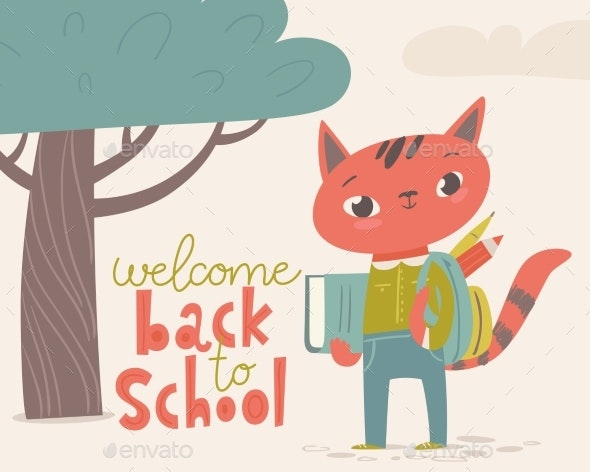 Welcome Back To School Poster with Cartoon Animals - Miscellaneous Vectors