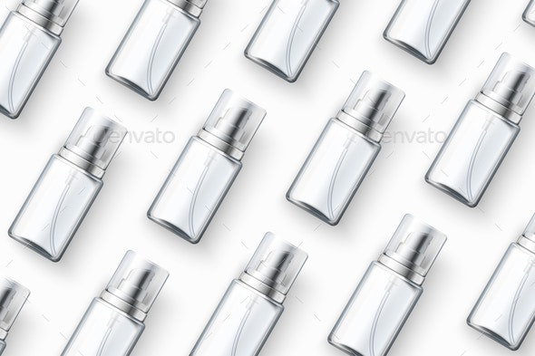 Vector Template Realistic Cosmetics Spray Bottles Isolated On White Table - Health/Medicine Conceptual