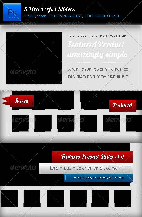 Pizel Perfect Sliders Pack (5) - Sliders & Features Web Elements
